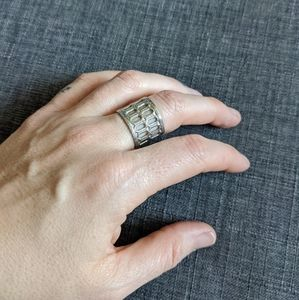 Beautiful architectural silver wrap ring